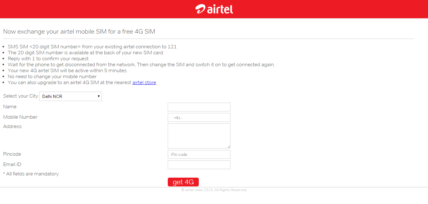 Get a Free 4G SIM Card from Airtel at your Home  – TechGrade