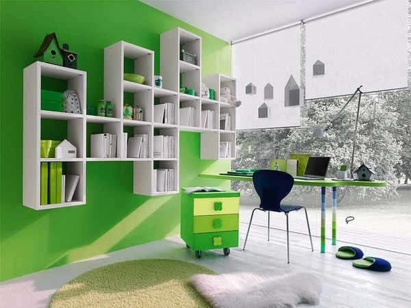 Green White Bedroom Interior Ideas White Floating Shelves